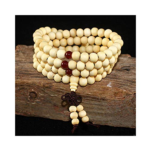 CNSP VIVIZEY 108 Beads 8Mm Natural Sandalwood Buddhist Buddha Meditation Beads Bracelet For Women Men Prayer Bead Rosary Hanging Decoration White