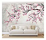wall26 - Large Wall Mural - Watercolor Style Ink Painting Pink Cherry Blossom on Vintage Wall Background | Self-Adhesive Vinyl Wallpaper/Removable Modern Wall Decor - 100x144 inches