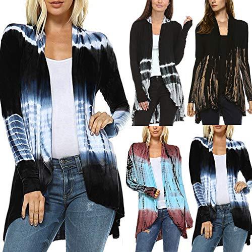 Gofodn Coats für Frauen Übergröße, Damen-Kleidung, Jacke, Cardigan mit Farbverlauf, asymmetrisch, langärmlig, S-5XL, Khaki