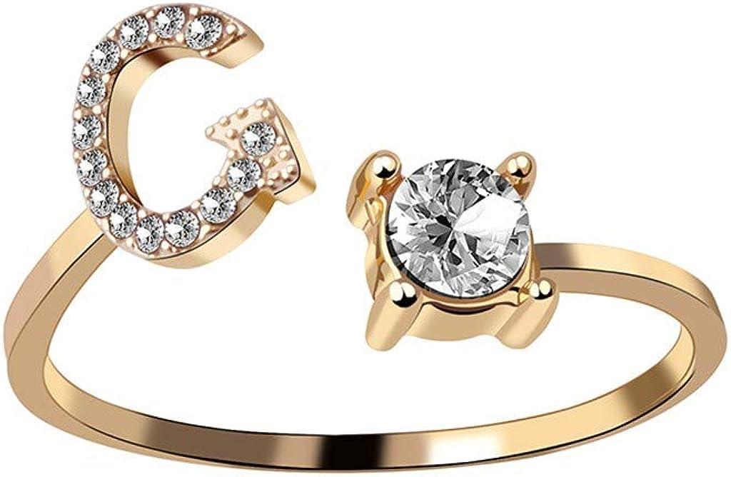 Sayhi Women Exquisite Fashion 26 English Alphabet Anniversary Rings Fashion Jewelry Valentine's Day