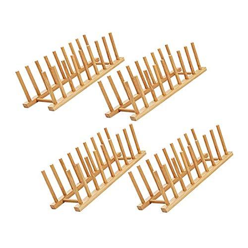 BANGSUN Bamboo Dish Plate Bowl Cup Book Pot Lid Cutting Board Drying Rack Stand 4Pcs