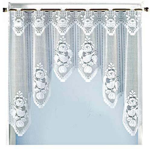 heimtexland ® Fensterbild Bogen Scheibengardine Rosen Jacquard Weiß Gardine HxB 100x150cm