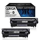 2 Pack12A Compatible 12A   Q2612A TonerCartridgeReplacement for HP Laserjet 1020(Q5911A) 1022(Q5912A) 1022n(Q5913A) 1022nw(Q5914A) 1010(Q2640A) 1012(Q2641A) PrinterInkCartridge(Black).