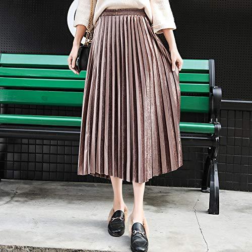 Skirt Plaid Skirt Pleated Long Skirt Women Fall Winter High Waist Casual Loose Clothes Bottoms Skirt M Champagne