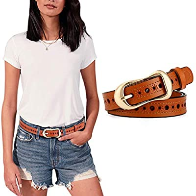 OZZEG Genuine Leather Belts for Women for Jeans Dress Hollow Flower with Pin Buckle Casual Waist Belt for Teen Girls, Orange, L: Fits waist from 34-37 Inch