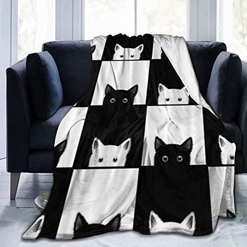 QIUTIANXIU Mantas para Sofás de Franela 150x200cm Tablero de ajedrez Blanco y Negro Divertido Gato Lindo Manta para Cama Extra Suave