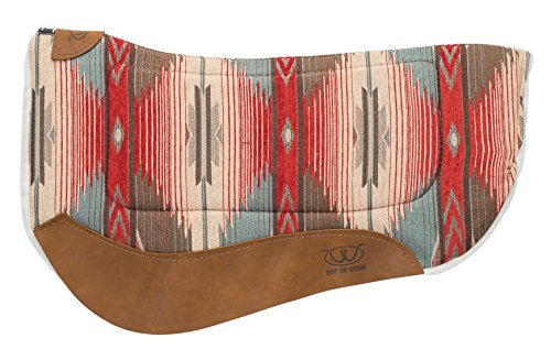 Weaver Leather All Purpose Contoured Barrel Saddle Pad, Red/Turquoise