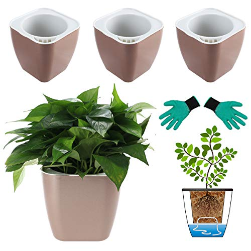 DeEFL 3 Packs 7 Inches Large Self Watering Planters Plastic Plant Pots Wicking Flower Pots for Indoor Plants, African Violet, Ocean Spider Plant, Orchid Pot, Champaign Gold