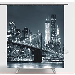 spring Home Brooklyn Bridge Fabric Shower Curtain