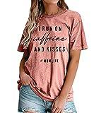 Mom Life Shirt I Run On Caffeine and Kisses Tshirt Women Funny Letters Print Tees Shirt Casual Mama Shirts Tops (Pink, M)