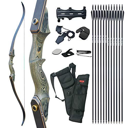 D&Q 60 Zoll Bogenschießen Take-Down Recurve bögen und Jagd Pfeil Bogen Set 20-60Lbs Rechte Hand für Jugendliche und Erwachsene