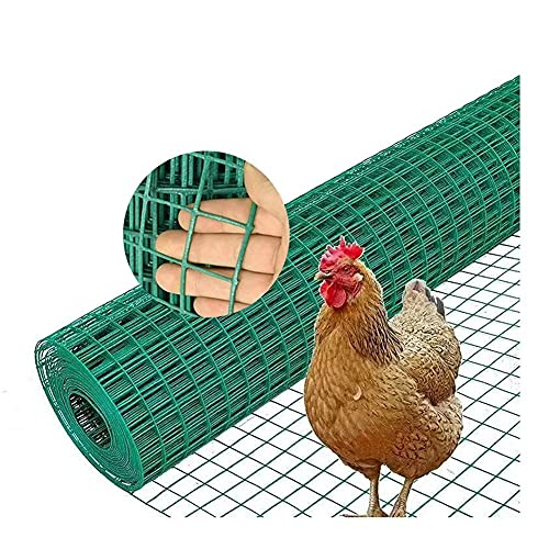 GAXQFEI Chicken Wire Fence, Green Vinyl Coated Welded Wire Mesh 3Cm Square Openings for Home and Garden Fence and Pet Enclosures Protect s and Farmed Animals,2.1Mm,1 * 30M