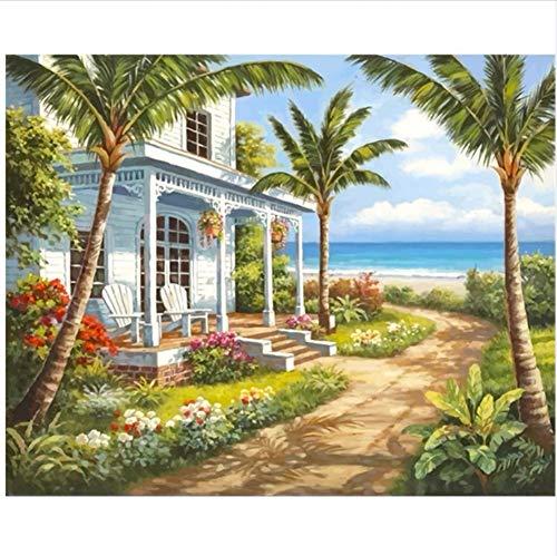 DIY Pintura Digital Por Números Mar Coco Villa Para Colorear Arte De La Pared Imagen De Regalo Sin Marco 40x50cm