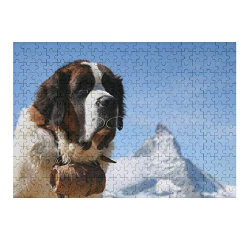 Jigsaw Puzzles 300 Pieces for Adults, Large Piece Puzzle Adorable Bernard Rescue Dog Pet Animal Fun Game Toys Birthday Gifts Fit Together