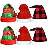 Marrywindix 6 Pieces Plush Christmas Hat Sequin Christmas Hat Red and Black Plaid Santa Hat for Christmas Holiday Party Favors