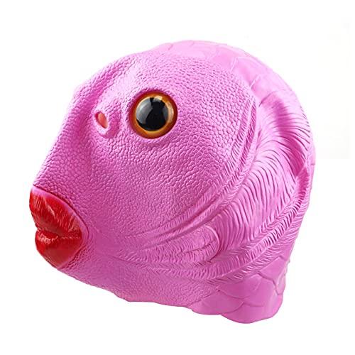 WOTEG Fisch Maske Tier Latex Vollkopf Realistische Masken Green Mouth Fish Latexmaske, Adult Funny Ugly Green Fish Head Für Halloween Karneval Kostüm Party Parade,Cosplay Unisex