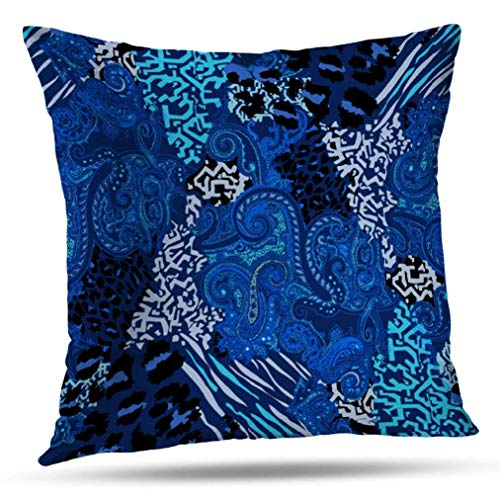 20 x 20 inch Throw Pillow Covers,Cobalt Blue Pattern Double-Sided Sofa Cushion Cover Couch Bed Pillowcase Home Gift Decorative Hidden Zipper Design Cotton Polyester