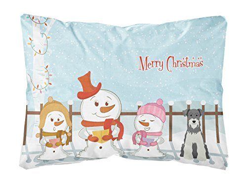 Carolines Treasures BB2385PW1216 Merry Christmas Carolers Miniatur-Schnauzer Salz und Pfeffer Leinenstoff, dekoratives Kissen, 30,5 cm H x 40,6 cm B, Mehrfarbig