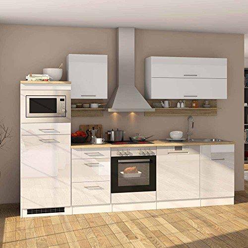 Pharao24 Hochglanz Küchenblock in Weiß Eiche Sonoma E-Geräte
