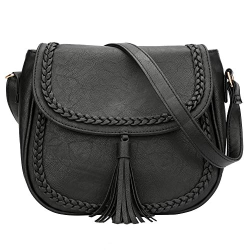 KKXIU Casual Flap Saddle Crossbody Bags for Women Purses and Handbags with Tassel (Z-Black)