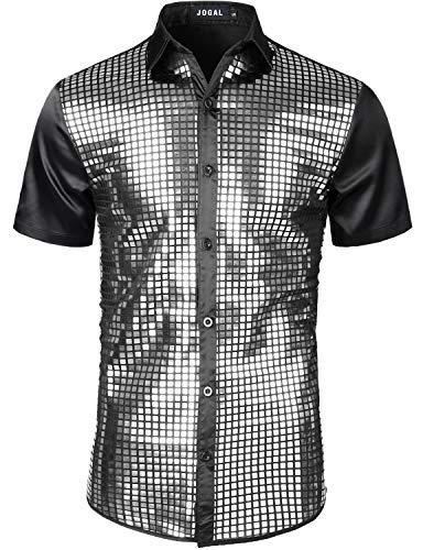 JOGAL Herren Pailletten Hemd 70er Kurzarm Disco Party Kostüm Large SchwarzSilber