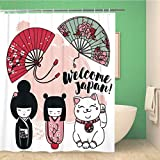 JessFash Bathroom Shower Curtain Cute Traditional Souvenirs Japan Asian Hand Fans Kokeshi Wooden Polyester Fabric 60x72 Inches Waterproof Bath Curtain Set with Hooks 60X72 Inch