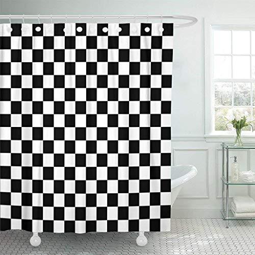 JOOCAR Design Duschvorhang, Schachbrett-Flagge, Schachboden, Sporttisch, wasserdichter Stoff, Badezimmerdekor-Set mit Haken