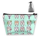 Kawaii - Estuche de maquillaje con cremallera para dientes, bolsa de maquillaje portátil y ligera, con organizador para niñas, mujeres