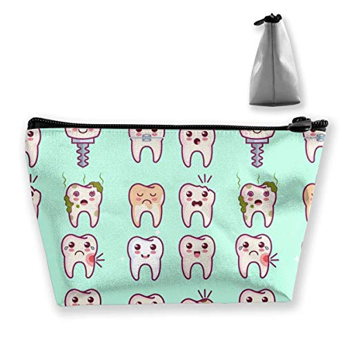 Kawaii Dentist Dents Cosmetic Pouch Travel Makeup Bag Trapezoid Bag with Zipper Waterproof Storage Bag Portable Lightweight Toiletry Pouch Organizer Bag for Girls, Women