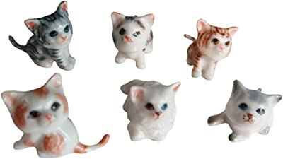 Cozinest 6 Cartoon Cute Persian Ceramic Cat Mini Kitten Figurine Animals Pets Porcelain Dollhouse Miniatures Hand Painted Animal Decor or Gift for Cat Lovers