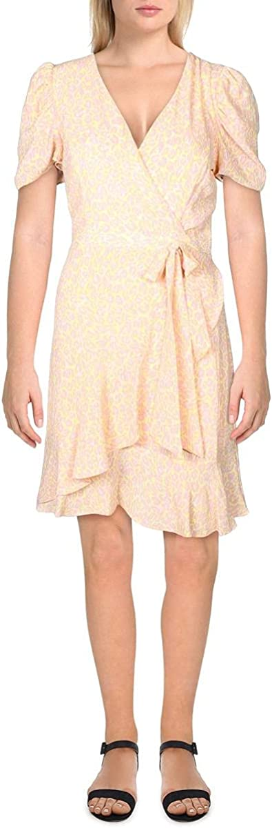 Betsey Johnson Womens Petites Puff Sleeve Animal Print Wrap Dress Pink