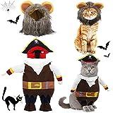 2 Piezas Uniformes de Pirata de Halloween de Mascotas con Sombrero y Disfraz de Melena de León Ropa de Mascotas de Eventos de Fiesta de Halloween para Disfraz de Perro Gato (M)