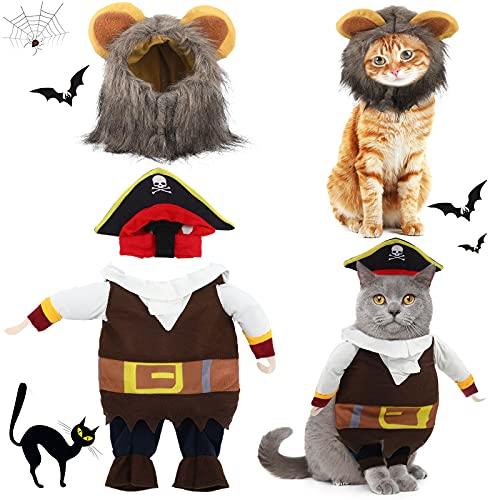 2 Piezas Uniformes de Pirata de Halloween de Mascotas con Sombrero y Disfraz de Melena de León Ropa de Mascotas de Eventos de Fiesta de Halloween para Disfraz de Perro Gato...