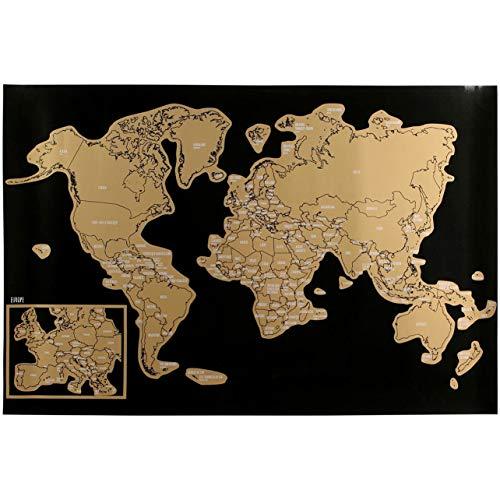 Promobo – Poster con mappa del mondo con paese da grattare Globe Trotter per bambini, divertente educativo
