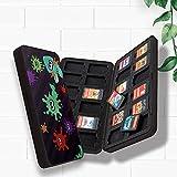 HuPop Switch Game Card Storage Case Holder Portatarjetas portátil antigolpes 24 ranuras Juego Tema Tarjeta de juego Caja de transporte Organizador Contenedor Compatible con Interruptor (Tipo-H)