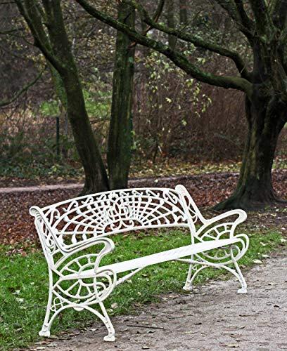 Gartenbank Metall weiß grün Libelle Vintage Shabby Jugendstil Art Nouveau Garten-Deko Parkbank - Naturstein Fliesen Lager Verkauf Stein-mosaik Herne NRW