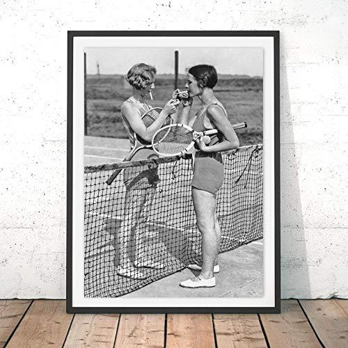 WADPJ tennis poster canvas kunstdruk vrouwen roken vintage schilderij zwart wit beeld huis meisjes kamer muurkunst decor 50x70cmx1 stuk geen lijst