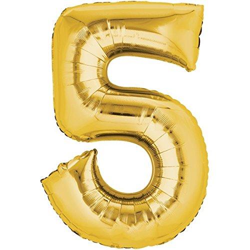 Folienballon - Zahl 5 GOLD - XXL 86cm, Zahlen Luftballon + PORTOFREI mgl + Geschenkkarten Set +...