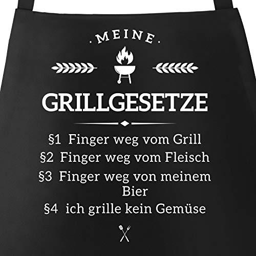 MoonWorks Grill-Schürze für Männer mit Spruch Grillgesetze Baumwoll-Schürze Küchenschürze schwarz Unisize