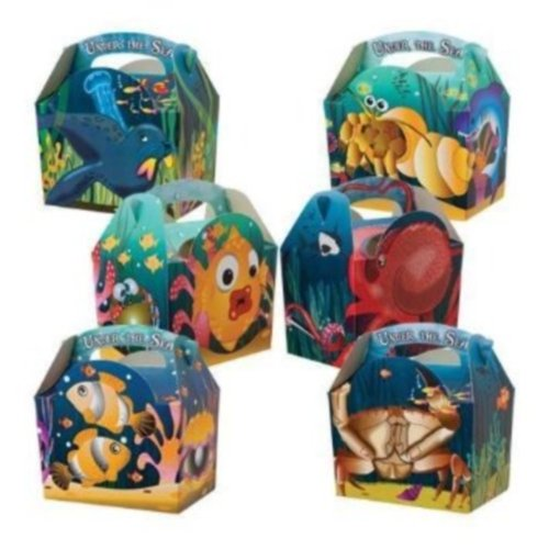 30 Animal Themed Food Boxes Picnic Carry Meal Box Kids Birthday Party Bag Plate (Under the Sea)