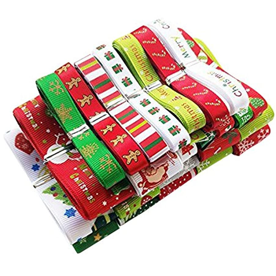 Chenkou Craft 24Yards Mix Lots Merry Christmas Polyester Grosgrain Ribbon Snowflake Claus Beer