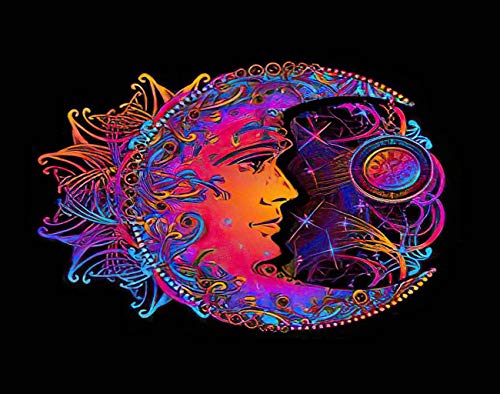 "MQPPE Boho 5D DIY Diamond Painting Kits, Chic Tattoo Golden Crescent Moon and Sun of Mandala Astrology Alchemy Full Drill Painting Arts Set Craft Canvas for Home Wall Decor Adults Kids, 16"" x 20"""