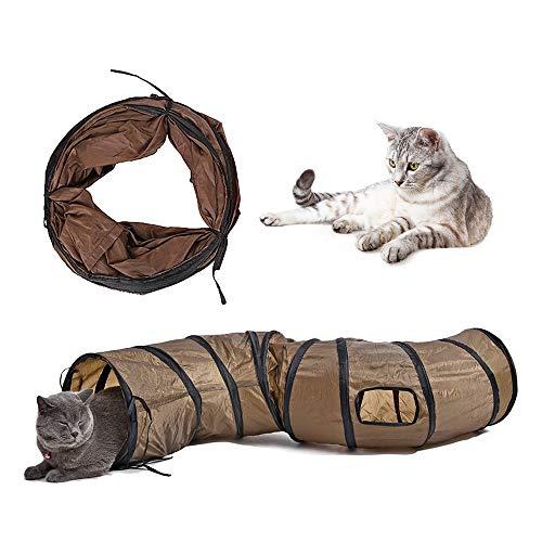 猫トンネル,Andiker 2穴付き猫トンネル折りたたみ可能水洗いS形キャットトンネル長いトンネル猫遊びペットおもちゃ (S-ブラウン)