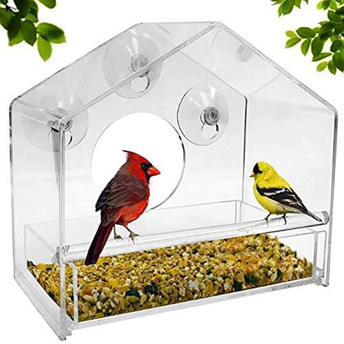 01 Mangeoire à oiseaux en acrylique transparent avec ventouse en forme de maison Convient pour le verre.