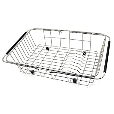 GTHUNDER Over Sink Drying Rack Stainless Steel Sink Dish Rack & Counter Container for Kitchen (Large Sink Basket)