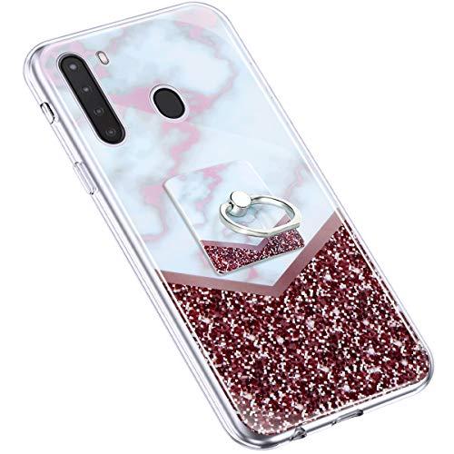 Uposao Kompatibel mit Samsung Galaxy A21 Hülle Marmor Muster TPU Silikon Hülle mit 360 Grad Ring Ständer Ultra Dünn Silikon Matt Marble Muster Case Crystal Clear Silikon Bumper Hülle,Rot