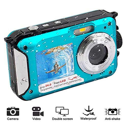 CHENTAOCS waterdichte anti-shake-digitale camera 1080p full HD onderwatercamera 24 MP video recorder selfie Dual Screen DV-opnamecamera eenvoudig te gebruiken blauw