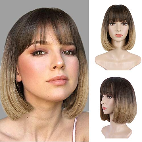 CHRSHN Short Bob Wigs with Bangs Straight Shoulder Length Wig Ombre Dark Brown to Light Brown Natural Looking Synthetic hair for Girl's wig