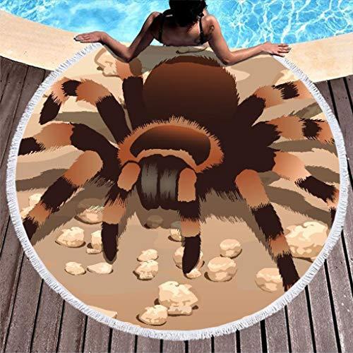 WT-DDJJK Toallas de Playa, Toalla de Playa Hawaiana de Microfibra de araña tarántula con Borla para niñas, niños, Mujeres, 59 Pulgadas