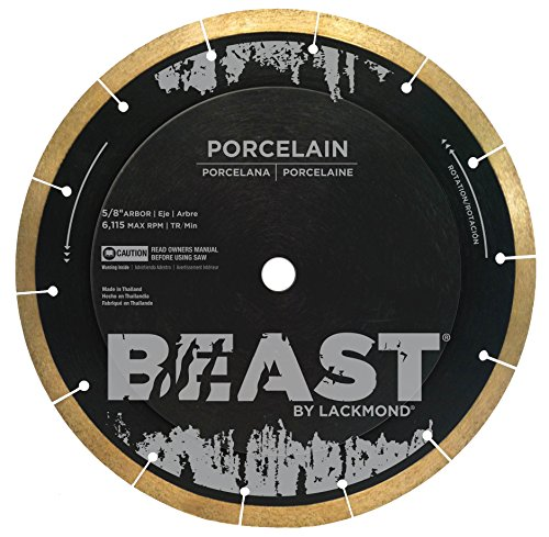"Lackmond Beast Pro Porcelain Saw Blade - 7"" Hard Tile Cutting Tool with Thin Kerf Cutting Edge & 5/8"" Arbor - BP7"